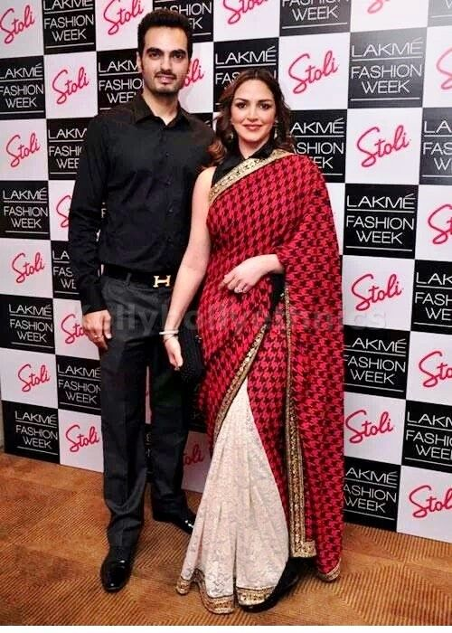 Bollywood Actress Esha Deol Georgette and Net Saree in Cream and Red color