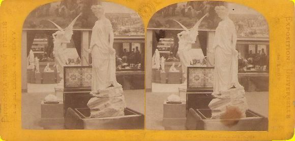 "World Expo. View: M. Leon and J. Levy (French photographers). View says below right: ""471. – Salon des Beaux Arts Italiens"". Grade: 6/7. Yellow flat mount stereoview 1860's. Some general wear and a stain on the right image. Price: $ 15 Ordering number: EXPO206"