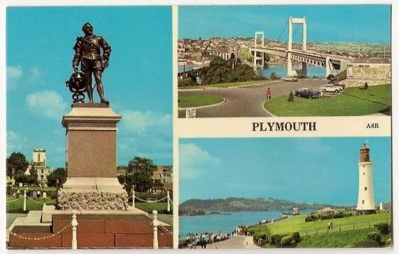 Old postcard showing Francis Drake statue on Plymouth Hoe, Brunel Bridge (linking Plymouth to Saltash, Cornwall) and Smeaton's Tower (been painted since this!).