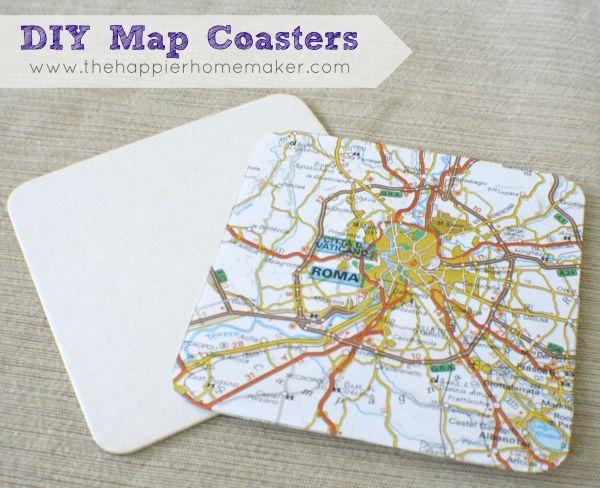 map coaster diy tutorial