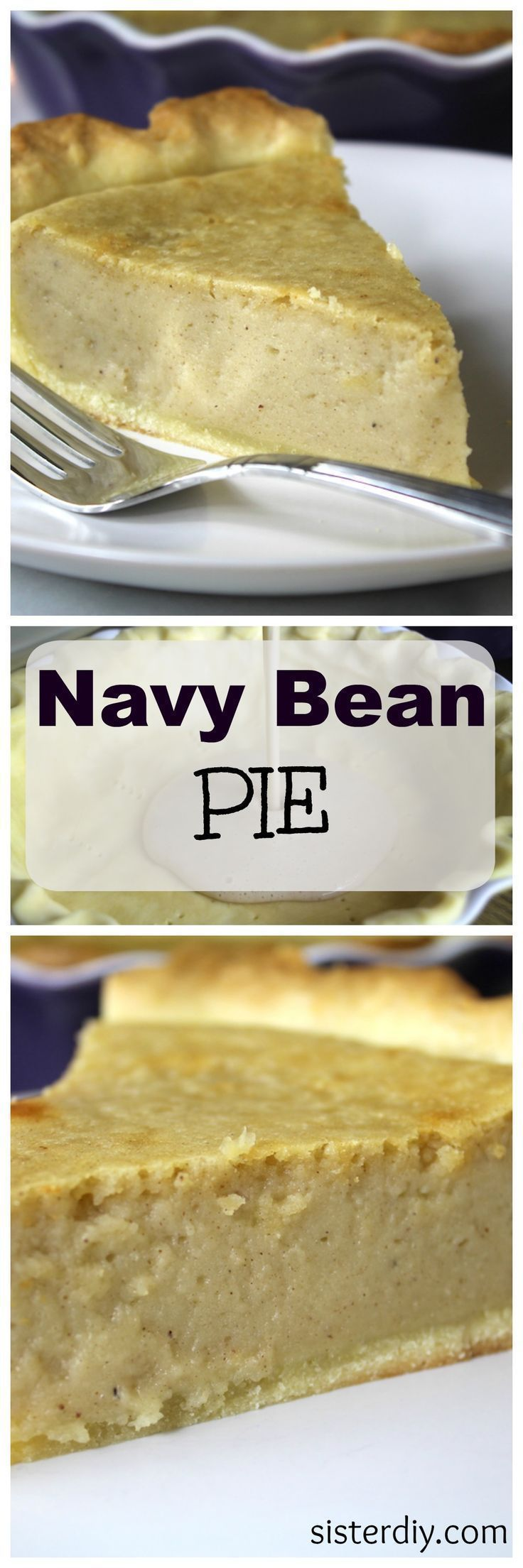 Navy Bean Pie is a sweet custard pie in which the filling consists of pureed navy beans, sugar, butter, eggs, milk, and spices. Simple and unexpectedly delicious!