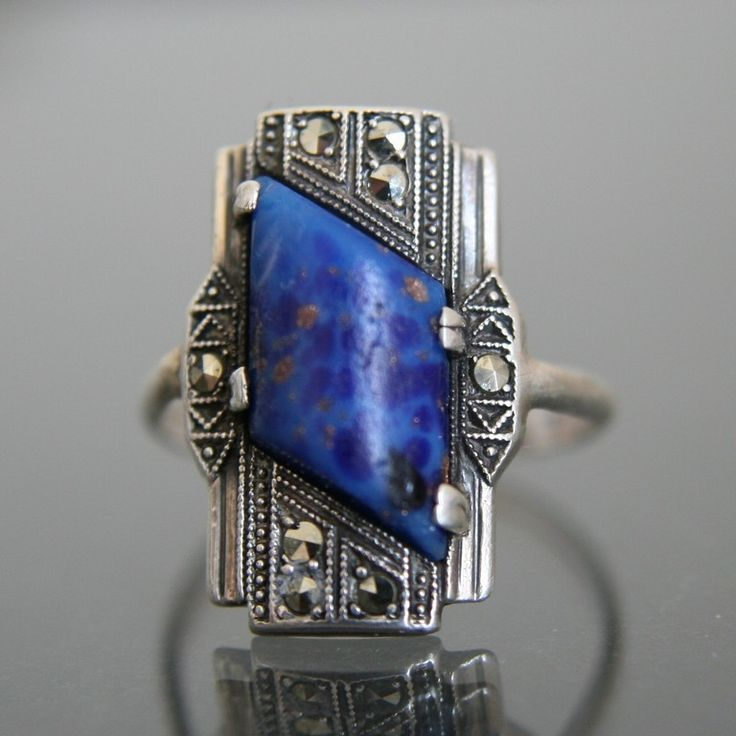 Art Deco Ring. Lapis Lazuli Glass, Marcasite, Silver 835. Size 6 1/2