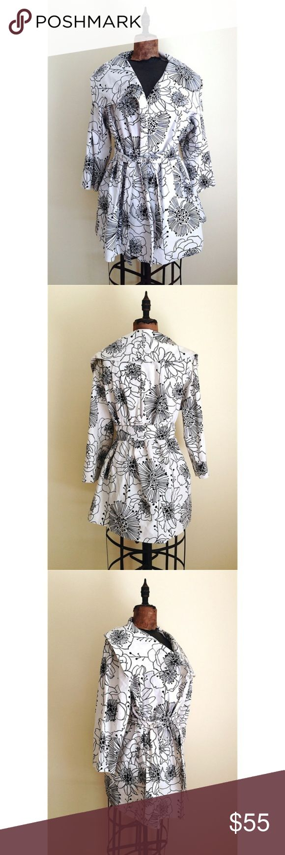 """ANNA SUI APRIL SHOWERS Trench Coat M The """"April Showers Trench"""" by Anna Sui x Anthropologie, retailed for $228. Cotton with acetate lining // graphic black dahlia print, open front, appx. 32"""" long Great condition! Sz medium Anna Sui Jackets & Coats Trench Coats"""