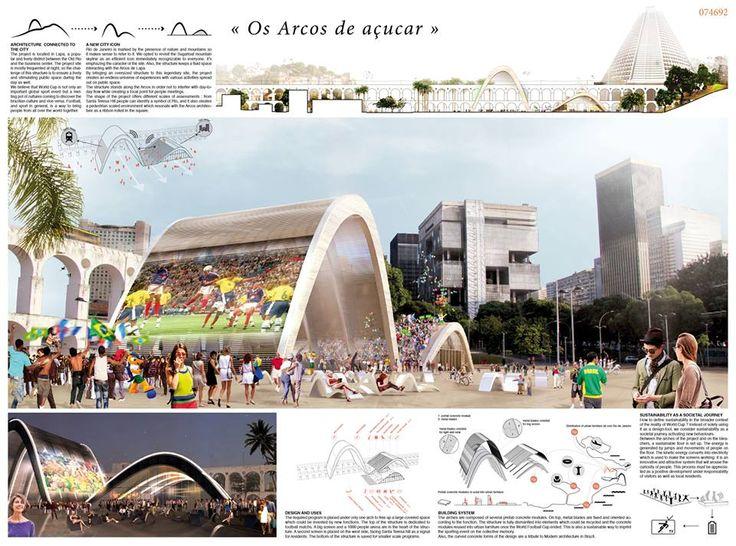 [A3N] : Symbolic World Cup Structure Competition - RIO DE JANEIRO (Mention 01 : Os Arcos de acucar ) / Agathe Marimbert, Elsa Arsenault, Mathieu Terne ( France).