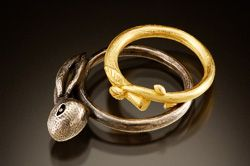 """Stacey Lane, """"Rabbit in a Thicket…""""; Stacey will teach lost-wax casting at Penland, August 24-30, 2014. More info: http://penland.org/metals/index.html"""