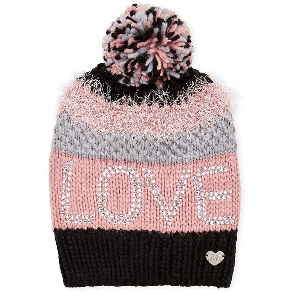 Betsey Johnson Love Textured Slouchy Beanie ($14) ❤ liked on Polyvore featuring accessories, hats, pink, pink beanie, pom pom beanie hat, pom pom beanie, flat hat and slouchy pom pom beanie