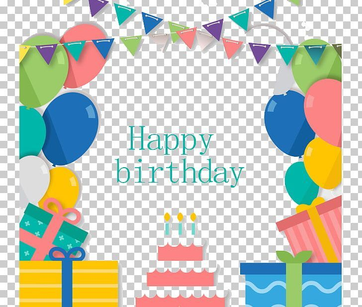Birthday cake paper party greeting card png balloon