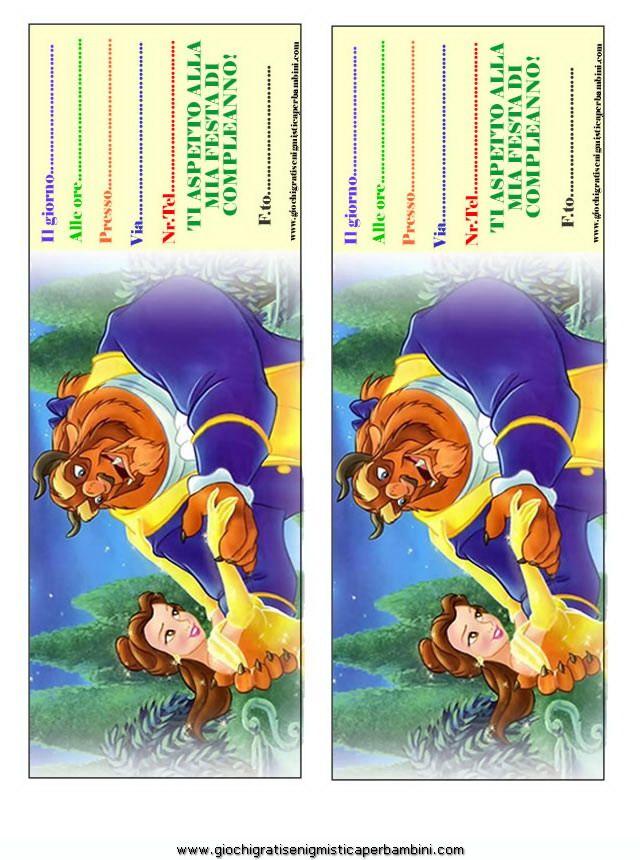Inviti compleanno di la bella e la bestia biglietti for La bella e la bestia immagini da stampare