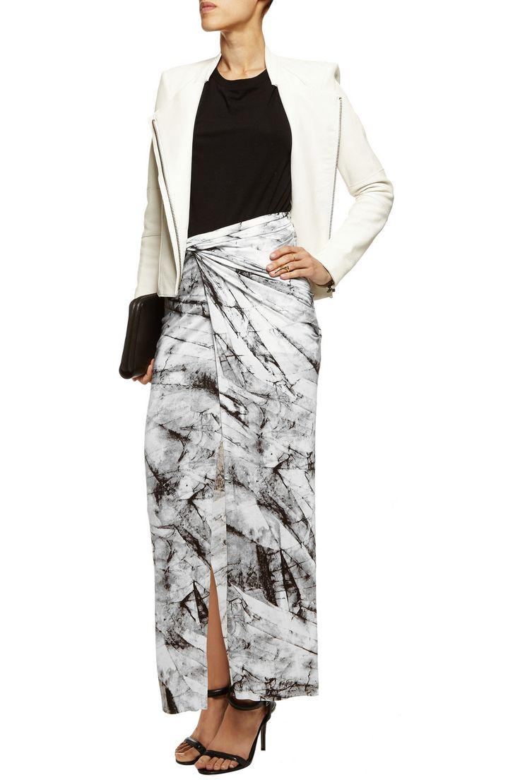 Helmut LangWrap-effect printed stretch-jersey maxi skirtfront