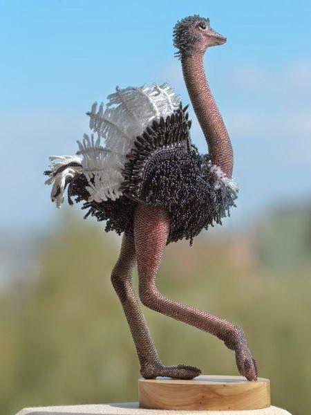 3D ostrich - Wonderful bead art by Zhanna Vasilieva | Beads Magic