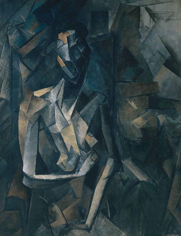 Pablo Picasso (español, 1881-1973), Desnudo sentado [Sentado Desnudo Femenino], 1909-1910. Óleo sobre lienzo, 921 x 730 mm.