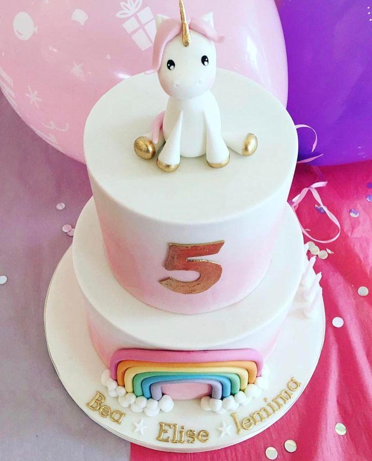 Rainbow unicorn girl 5th birthday cake by Sweet Bea's Bakery