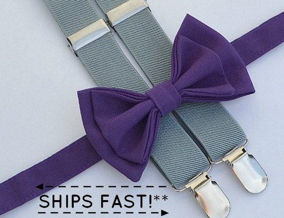 Eggplant Purple Bow Tie & Light Grey Suspenders by armoniia