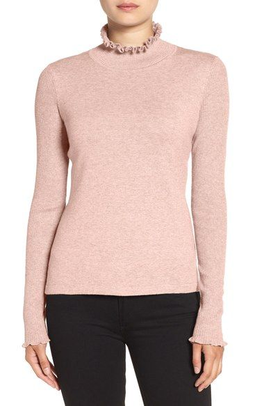 CeCe Rib Sleeve Ruffle Trim Turtleneck available at #Nordstrom
