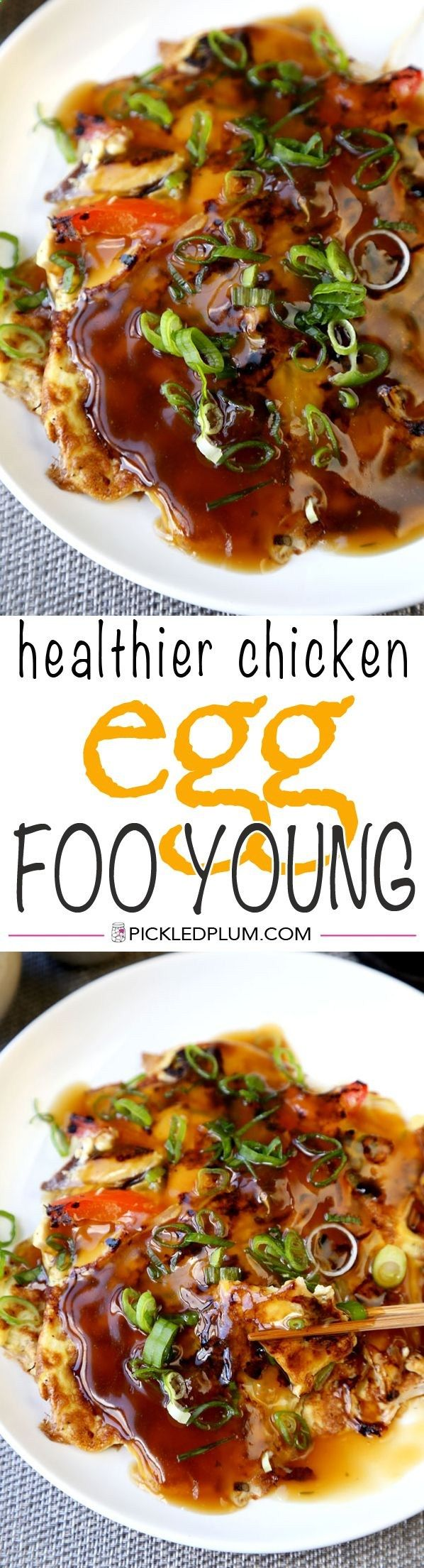 Healthier Chicken Egg Foo Young Recipe - I'm using less oil, more veggies and packing plenty of flavor into these fluffy egg foo young pancakes and gooey brown gravy! www.pickledplum.c...