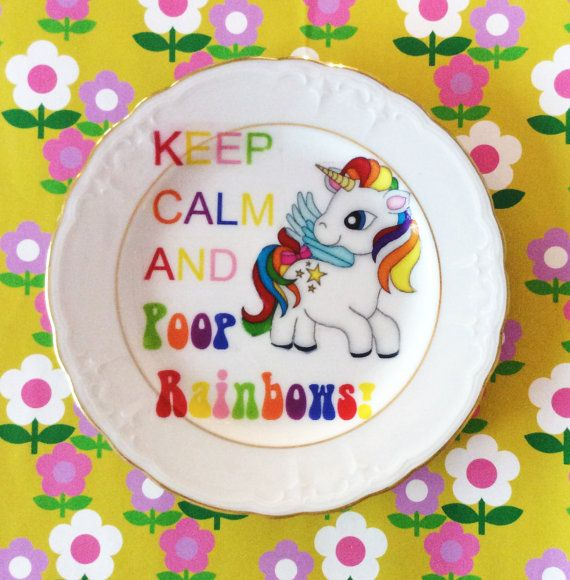 Upcycled 'Keep Calm and Poop Rainbows' Unicorn Side Plate- Kawaii White China- Goth Pretty Multicoloured  Unicorn