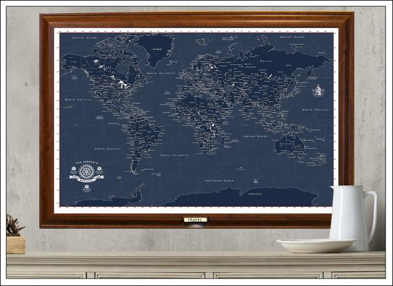 World Travel Map in Blueprint Style. Personalize Your Map, Framed 24x36, With a Set of Push Pins, Modern Political Geography