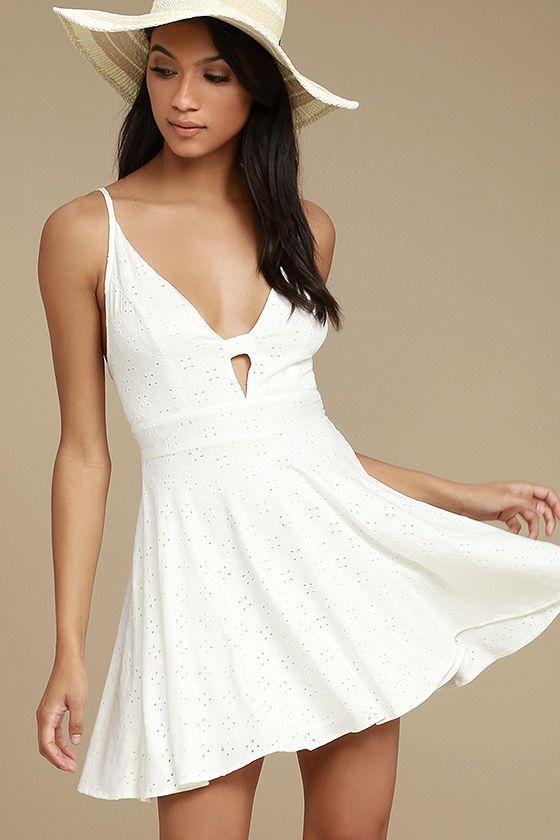 Lucy Love Slay - White Eyelet Dress - Skater Dress - $75.00 Lulus