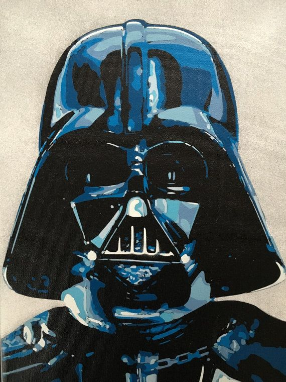 """Original Darth Vader Star Wars Painting on 9""""x 12"""" Back Stapled Canvas (See…"""