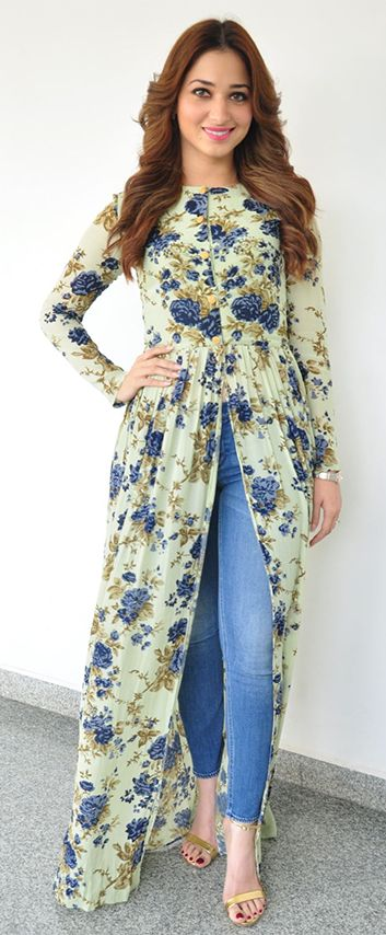 Tamanna Bhatia in a full sleeve casual maxi gown at a movie press meet. (Source: cineforest.com)