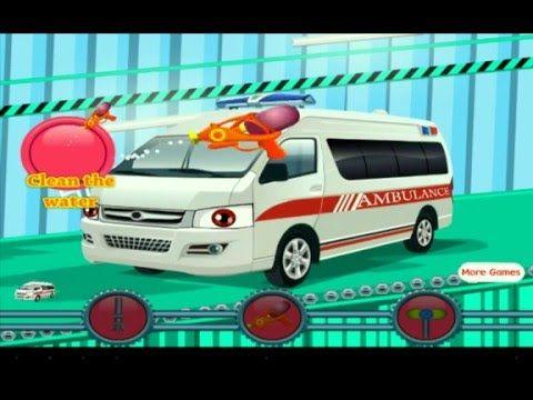 Моем скорую помощь на автомойке. Ambulance washing on cartoon