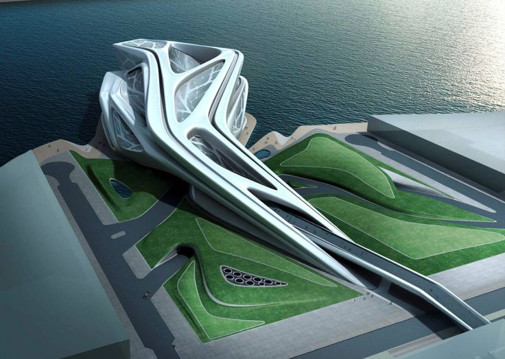 Abu Dhabi Performing Arts Centre - Architecture - (c) Zaha Hadid Architects.    As with many other buildings, I really like the flow of the structure, combining soft forms (curves) with sharp endings.