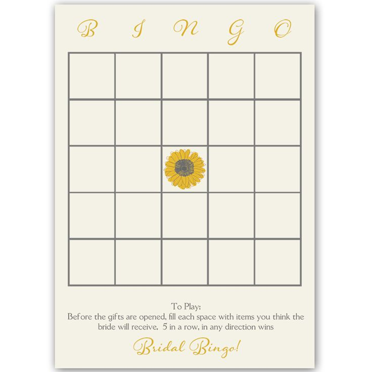 Have guests play bridal bingo at your bridal shower with this bright and lovely bingo card featuring sunflowers on an ivory background.