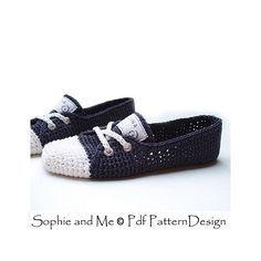 Sneaker Classics Ballerina version. Crochet pattern basic slippers.