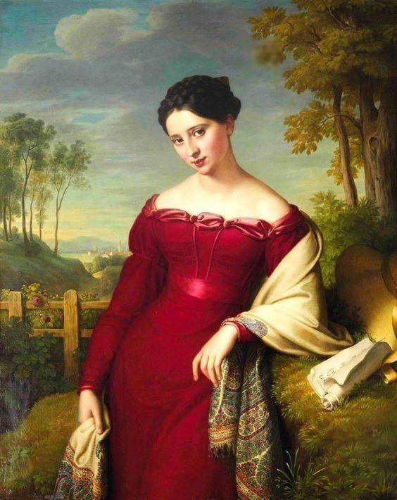 Портрет  женщины  в  красном  платье. Eduard Friedrich Leybold 1798-1879:  (* 4. Juni 1798 in Stuttgart; † 24. Dezember 1879 in Untermeidling) war ein österreichischer Porträtmaler.