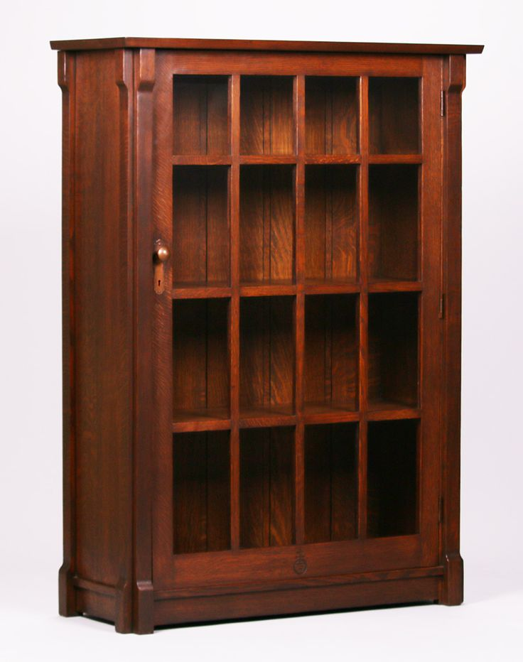 """Roycroft one-door """"33 Degree"""" bookcase. Signed. Very nicely refinished. 55″h x 40″w x 15″d $12,000"""