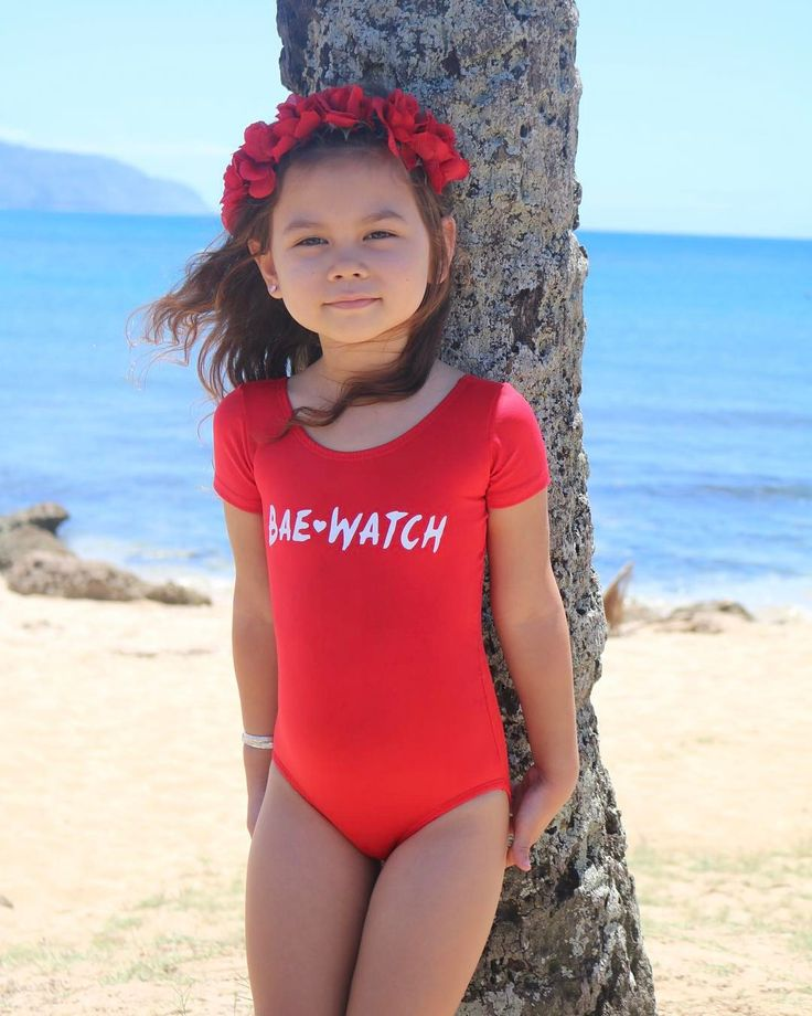 "INSTAGRAM: @dailythreads_ . Get your Little's Summer ready in our ""Bae❤Watch"" Red Leotards!!! 📸: @onceuponakaanoi . **Follow/Like my Pinterest page @ DailyThreadsByDina and message me for 10% OFF your 1st order!!🎉 . ❤TheDailyThreads.etsy.com❤ . #bae #summer #summervibes #beach #beachbabe #mermaid #princess #custom #squadgoals #leotard #littlemermaid #baywatch"