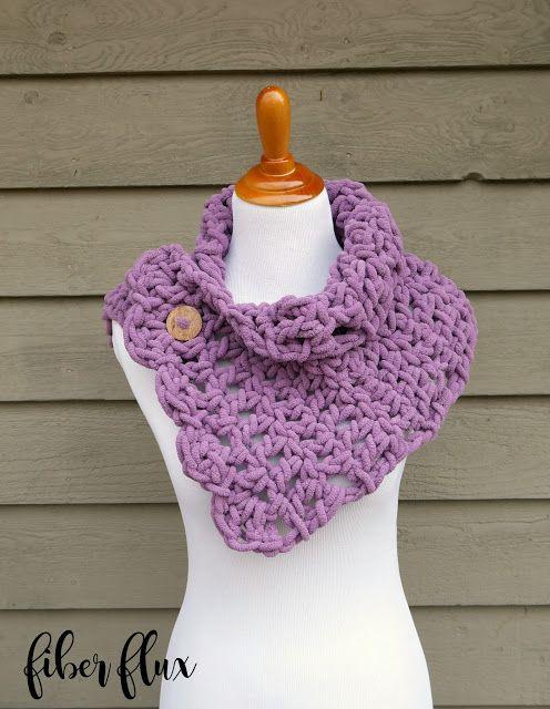 Lavender Clouds Neckwrap, free crochet pattern + full video tutorial on Fiber Flux!