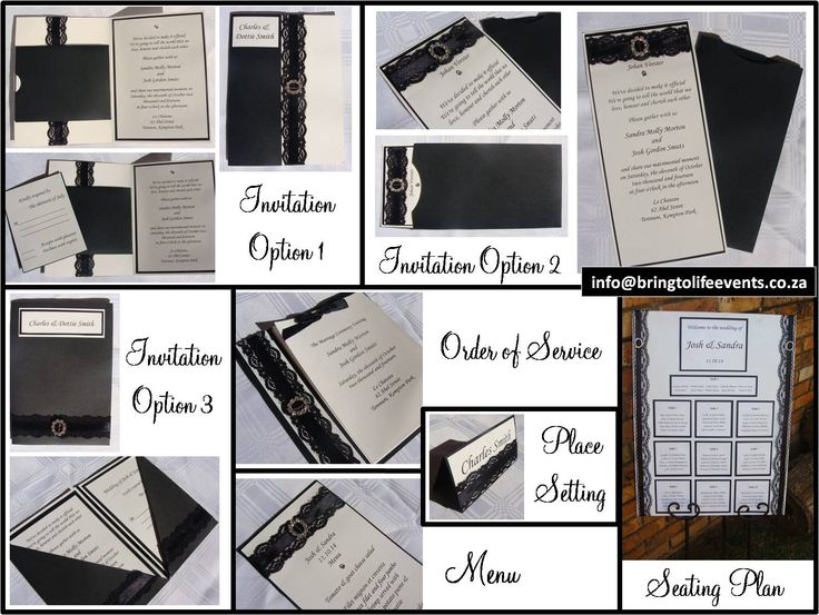 Black and white wedding stationery using black lace, ribbon and diamante buckles- Invitation, order of service, place setting, menu & seating plan
