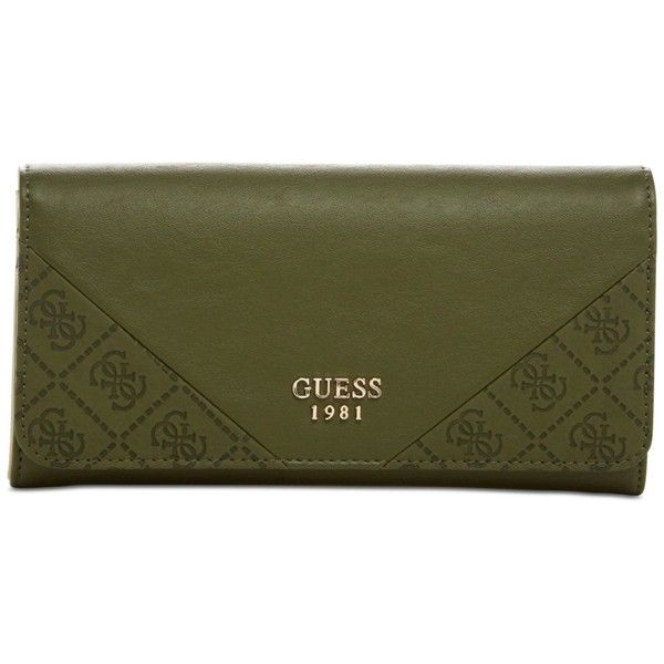 Guess Cammie Large Flap Organizer Wallet ($48) ❤ liked on Polyvore featuring…