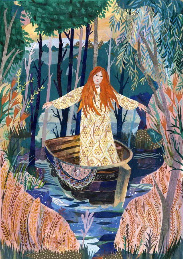 Illustration art print The Lady of Shalott A3 Print