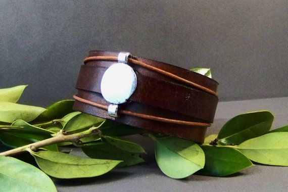 Vintage Leather Cuff With Silver Accent by 4MLeatherDesign on Etsy, $30.00
