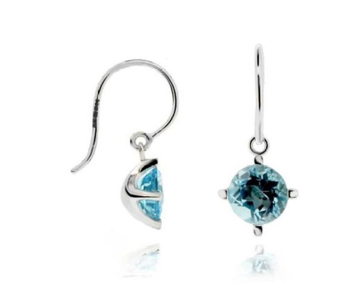 DINNY HALL 14ct White Gold Gem Drop Earrings with Blue Topaz.  MRRP: £420.00GBP - AVI Price: £294.00GBP
