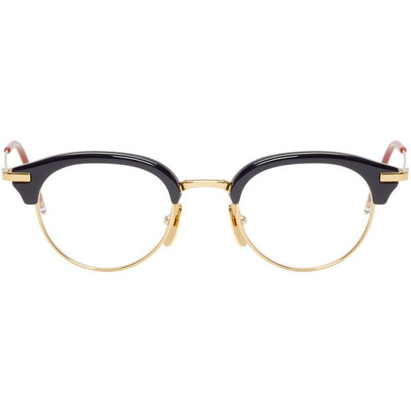 Thom Browne Navy and Gold TB-706 Optical Glasses ($630) ❤ liked on Polyvore featuring accessories, eyewear, eyeglasses, glasses, sunglasses, gold glasses, thom browne eyewear, thom browne, colorful glasses and round eyeglasses