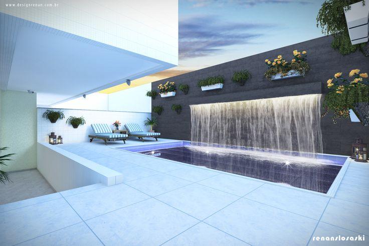 Projeto 3D - Piscina com cascata e luz de led, mobiliário, vegetação suspensa, iluminação dentro da piscina e opção de textura na parede.