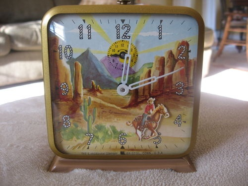 Vintage Ingraham Roy Rogers Trigger Animated Alarm Clock Mint: Collectible Clocks, Cowboy Girl Heyday, Late, Roy, Cowboy Time, Things, 500 375 Pixels, Toys Vintage Tin Cast Iron, Clocks Tick Tock