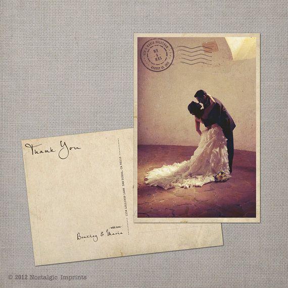 Wedding Thank You Card Vintage Postcard  the by NostalgicImprints