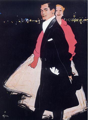 Illustration by René Gruau, 1955, Men's & Women's Clothing.