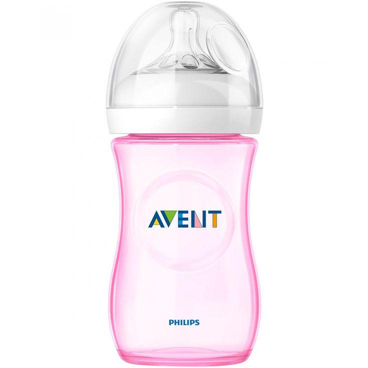 Biberón Avent elaborado en material sintético color rosa; con anticólicos que reduce el malestar ya que el bebé controla el flujo de leche y menos piezas para un montaje rápido y sencillo.