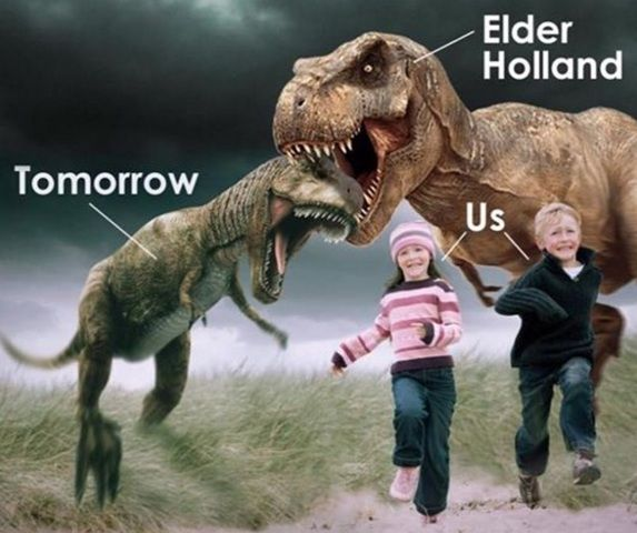 """""""The demise of Tomorrowsaurus Rex at the jaws of Elder Holland!!"""" one Facebooker, Janel Olvera Andersen, wrote in response to a meme showing a cleverly altered version of the one Elder Holland showed in general conference."""