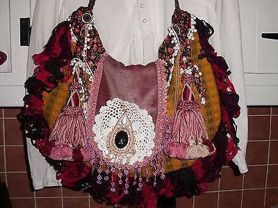 Handmade Bohemian Beauty Vintage Gypsy Hippie Boho Tassel Lace Handbag Purse