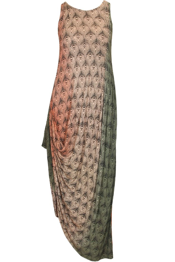 Multicolour peacock print spirit dress available only at Pernia's Pop Up Shop.