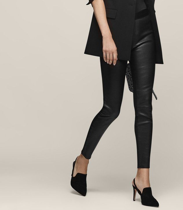 REISS - KNOLE LEATHER AND PONTE TROUSERS
