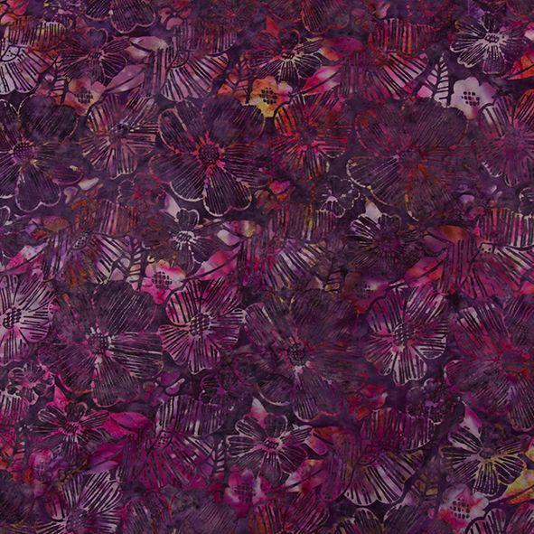 Bavlněná látka Batika Bali květy fialové BB