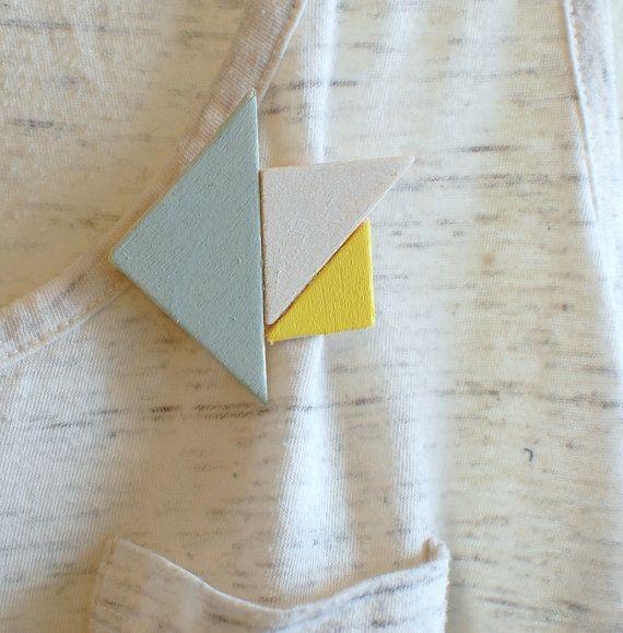 triangle wood brooch - yellow, light blue, white - modern brooch - geometric