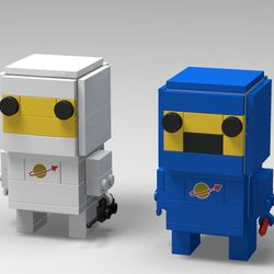 I had 2 Brickheadz sitting on my self right under a display of classic space sets, and had a peanut butter cup moment. Why not put the 2 together. So I sat down and started designing the figures a classic white and a blue, with a slight nod to Benny from the Lego Movie The total part count came out to only 128 bricks. Let me know what you think.
